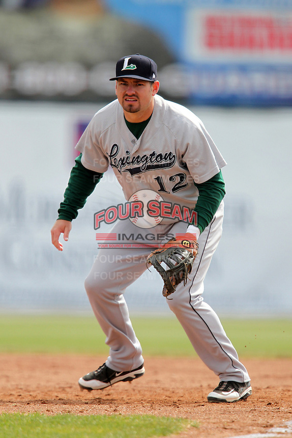 Lexington Legends first baseman Tyler Burnett #12 during a game against the Hagerstown Suns at Municipal Park on April 11, 2012 in Hagerstown, Maryland.  Lexington defeated Hagerstown 3-0.  (Mike Janes/Four Seam Images)