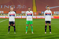 BREDA, NETHERLANDS - NOVEMBER 27: Becky Sauerbrunn #4, Alyssa Naeher #1 and Samantha Mewis #3 of the USWNT line up during the national anthem before a game between Netherlands and USWNT at Rat Verlegh Stadion on November 27, 2020 in Breda, Netherlands.