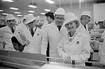 Margaret Thatcher campaigning for the 1979 General Election in Northampton. Visit ot the Telfers sandwich factory.