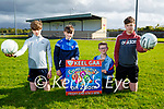 Keel GAA Coiste na nÓg launching their community bingo at the club on Monday evening and it's been held online on Friday 4th June at 8pm. L to r: Kian and Oisin O'Dowd, Jessie O'Reilly and Matt Murphy.