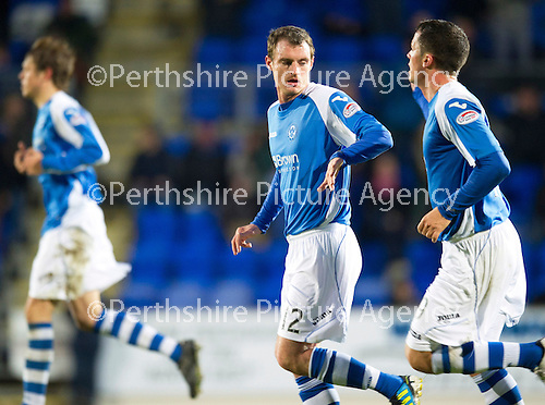 St Johnstone v Motherwell...03.11.12      SPL.David Robertson celebrates his late goal with Gary Miller.Picture by Graeme Hart..Copyright Perthshire Picture Agency.Tel: 01738 623350  Mobile: 07990 594431