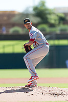 Mesa Solar Sox starting pitcher Jesus Castillo (71), of the Los Angeles Angels organization, delivers a pitch during an Arizona Fall League game against the Glendale Desert Dogs at Camelback Ranch on October 15, 2018 in Glendale, Arizona. Mesa defeated Glendale 8-0. (Zachary Lucy/Four Seam Images)