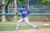 Los Angeles Dodgers pitcher Robinson Ortiz (99) delivers a pitch to the plate during an Instructional League game against the Cincinnati Reds on September 26, 2017 at Camelback Ranch in Glendale, Arizona. (Zachary Lucy/Four Seam Images)