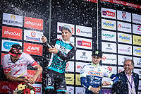 Champagne showering podium with:<br /> <br /> 1st place: Bryan Coquard (FRA/Vital Concept - B&B Hotels)<br /> 2nd palce: Nacer Bouhanni (FRA/Cofidis)<br /> 3th place: Alfdan De Decker (BEL/Wanty Groupe Gobert)<br /> <br /> <br /> GP Marcel Kint 2019 (BEL)<br /> One Day Race: Kortrijk – Zwevegem 188.10km. (UCI 1.1)<br /> Bingoal Cycling Cup 2019