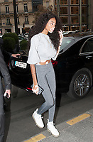 September 25 2017, PARIS FRANCE Top Model Winnie Harlow enters in<br /> the Georges V Hotel on Avenue Georges V.