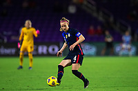ORLANDO CITY, FL - FEBRUARY 24: Becky Sauerbrunn #4 of the USWNT passes the ball during a game between Argentina and USWNT at Exploria Stadium on February 24, 2021 in Orlando City, Florida.