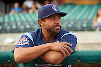 Corpus Christi Hooks Brandon Meredith (4) in the dugout before a game against the Arkansas Travelers on May 29, 2015 at Dickey-Stephens Park in Little Rock, Arkansas.  Corpus Christi defeated Arkansas 4-0 in a rain shortened game.  (Mike Janes/Four Seam Images)