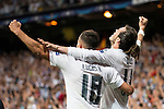 Real Madrid's Lucas Vazquez and Gareth Bale celebrating the victory during Champions League 2015/2016 Semi-Finals 2nd leg match at Santiago Bernabeu in Madrid. May 04, 2016. (ALTERPHOTOS/BorjaB.Hojas)