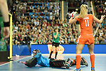 Leipzig, Germany, February 08: during the women gold medal match between Germany (white) and The Netherlands (orange) on February 8, 2015 at the FIH Indoor Hockey World Cup at Arena Leipzig in Leipzig, Germany. Final score 1-2 after shoot out (1-0, 1-1). (Photo by Dirk Markgraf / www.265-images.com) *** Local caption ***