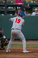 Stockton Ports shortstop Kevin Merrell (19) at bat during a California League game against the Visalia Rawhide at Visalia Recreation Ballpark on May 8, 2018 in Visalia, California. Stockton defeated Visalia 6-2. (Zachary Lucy/Four Seam Images)