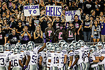 TCU fans show their support by taunting the Kansas State team before the game between the Kansas State Wildcats and the TCU Horned Frogs at the Amon G. Carter Stadium in Fort Worth, Texas. Kansas State defeats TCU 23 to 10...