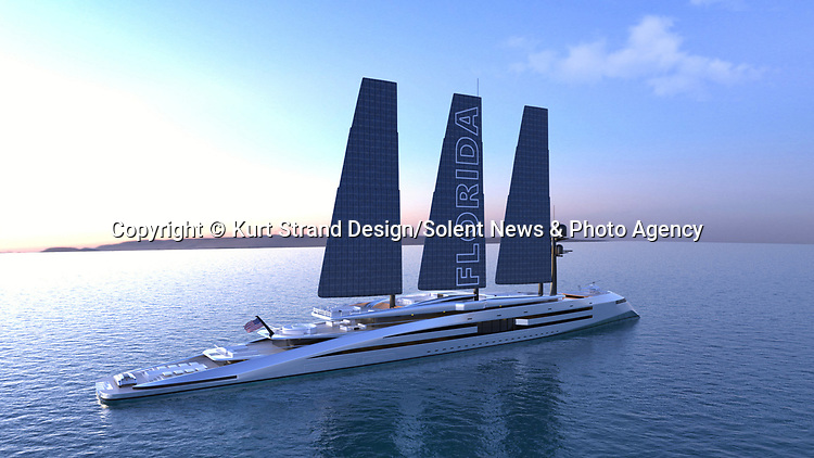 Pictured:  Exterior - sails extended<br /> <br /> An incredible new eco-friendly £580m super yacht powered by retractable solar-panelled 'sails' has been revealed.  The 'Florida' yacht's enormous 80 metre tall carbon fibre 'sails' can power the vessel, either by solar energy, or wind.<br /> <br /> The innovative 160 metre-long design was dreamt up by Florida-based Norwegian designer Kurt Strand.  On days when there is no wind, the super yacht will be able to transform into 'solar sail' mode.  SEE OUR COPY FOR DETAILS.<br /> <br /> Please byline: Kurt Strand Design/Solent News<br /> <br /> © Kurt Strand Design/Solent News & Photo Agency<br /> UK +44 (0) 2380 458800