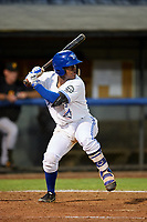 Bluefield Blue Jays second baseman Jose Theran (16) at bat during the second game of a doubleheader against the Bristol Pirates on July 25, 2018 at Bowen Field in Bluefield, Virginia.  Bristol defeated Bluefield 5-2.  (Mike Janes/Four Seam Images)