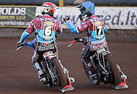 Richard Lawson (red) and Robert Mear celebrate a Lakeside 5-1 in heat 2 - Lakeside Hammers vs Kings Lynn Stars, Elite League Speedway at the Arena Essex Raceway, Pufleet - 23/04/13 - MANDATORY CREDIT: Rob Newell/TGSPHOTO - Self billing applies where appropriate - 0845 094 6026 - contact@tgsphoto.co.uk - NO UNPAID USE.