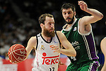 Real Madrid´s Sergio Rodriguez and Unicaja´s Stefan Markovic during 2014-15 Liga Endesa match between Real Madrid and Unicaja at Palacio de los Deportes stadium in Madrid, Spain. April 30, 2015. (ALTERPHOTOS/Luis Fernandez)