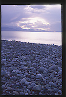 Sunset over the Strait of Juan de Fuca and the Dungeness Spit, Dungeness National Wildlife Refuge, Olympic Peninsula, Washington, US