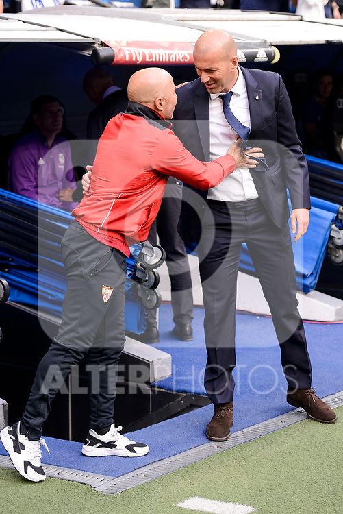 Real Madrid's coach Zinedine Zidane and Sevilla FC coach Jorge Sampaoli during La Liga match between Real Madrid and Sevilla FC at Santiago Bernabeu Stadium in Madrid, May 14, 2017. Spain.<br /> (ALTERPHOTOS/BorjaB.Hojas)
