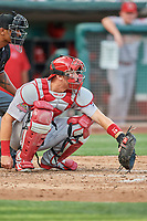 Carson Kelly (19) of the Memphis Redbirds on defense against the Salt Lake Bees at Smith's Ballpark on July 24, 2018 in Salt Lake City, Utah. Memphis defeated Salt Lake 14-4. (Stephen Smith/Four Seam Images)