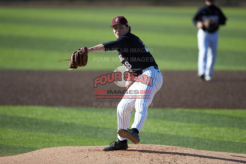Bellarmine Knights starting pitcher Brandon Pfaadt (28) in action against the North Greenville Crusaders at Ashmore Park on February 7, 2020 in Tigerville, South Carolina. The Crusaders defeated the Knights 10-2. (Brian Westerholt/Four Seam Images)