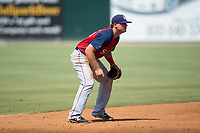 Hagerstown Suns shortstop Sheldon Neuse (16) on defense against the Kannapolis Intimidators at Kannapolis Intimidators Stadium on July 9, 2017 in Kannapolis, North Carolina.  The Intimidators defeated the Suns 3-2 in game one of a double-header.  (Brian Westerholt/Four Seam Images)