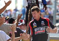 Sept. 23, 2012; Ennis, TX, USA: NHRA top fuel dragster driver David Grubnic during the Fall Nationals at the Texas Motorplex. Mandatory Credit: Mark J. Rebilas-