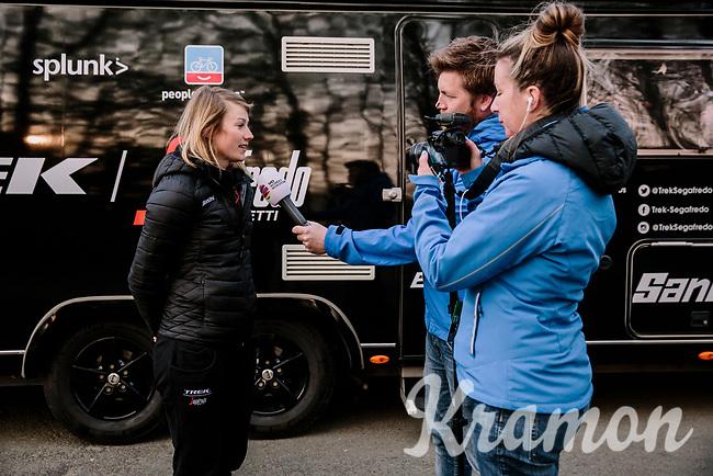 Lotta Lepisto (FIN/Trek-Segafredo) having a pre race interview<br /> <br /> 8th Gent-Wevelgem In Flanders Fields 2019 <br /> Elite Womens Race (1.WWT)<br /> <br /> One day race from Ypres (Ieper) to Wevelgem (137km)<br /> ©JojoHarper for Kramon