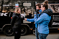 Lotta Lepisto (FIN/Trek-Segafredo) having a pre race interview<br /> <br /> 8th Gent-Wevelgem In Flanders Fields 2019 <br /> Elite Womens Race (1.WWT)<br /> <br /> One day race from Ypres (Ieper) to Wevelgem (137km)<br /> ©JojoHarper for Kramon