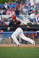 Batavia Muckdogs third baseman Rony Cabrera (26) hits an RBI double during a game against the Auburn Doubledays on June 19, 2017 at Dwyer Stadium in Batavia, New York.  Batavia defeated Auburn 8-2 in both teams opening game of the season.  (Mike Janes/Four Seam Images)
