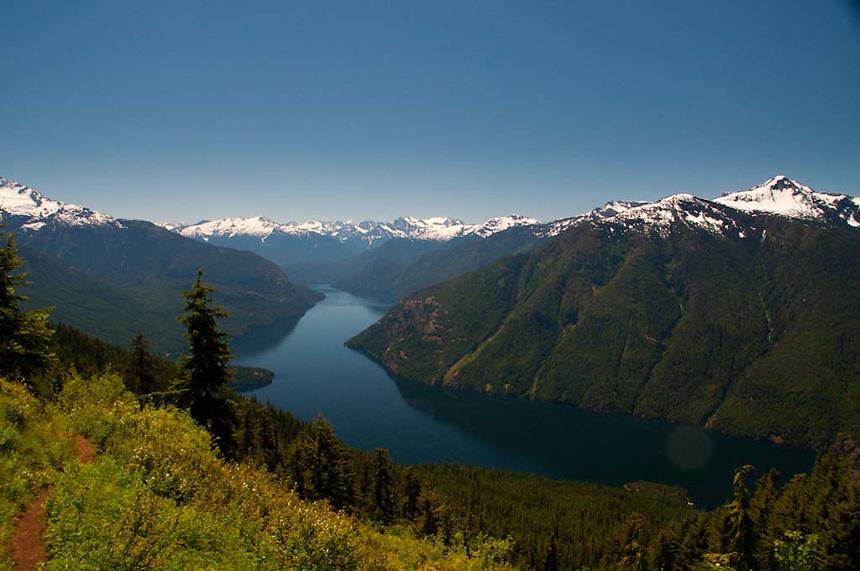 Cascade Peaks and Ross Lake from Desolation Peak Trail, North Cascades National Park, Washington, US