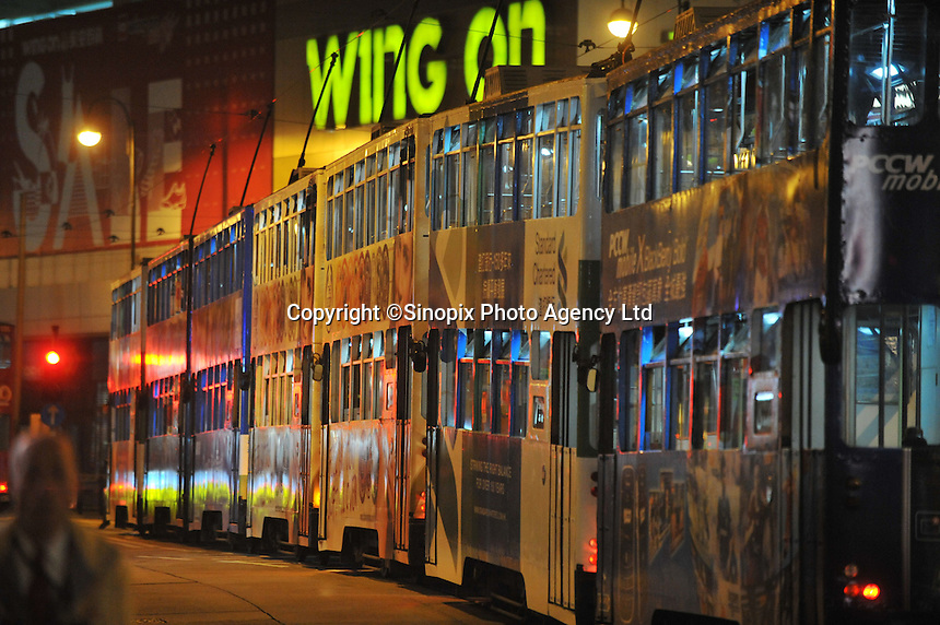 A tram jam in the Central district of Hong Kong..28 Jan 2009