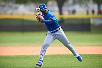 Toronto Blue Jays Estiven Machado (68) throws to first base during practice before an exhibition game against the Canada Junior National Team on March 8, 2020 at Baseball City in St. Petersburg, Florida.  (Mike Janes/Four Seam Images)