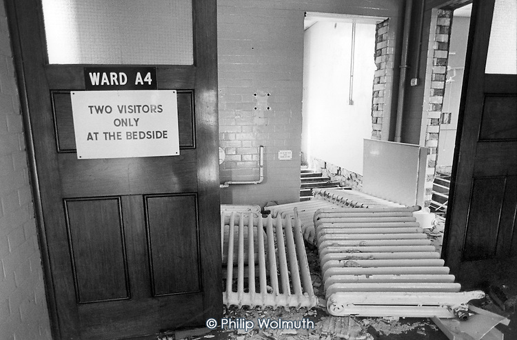 1985:  A ward in the partially demolished St Mary's Hospital, Harrow Road, now the site of the Carlton Gate private residential development.