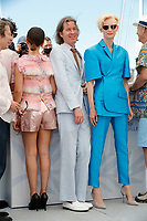 """CANNES, FRANCE - JULY 13: director Wes Anderson, British actress Tilda Swinton at photocall for the film """"The French Dispatch"""" at the 74th annual Cannes Film Festival in Cannes, France on July 13, 2021 <br /> CAP/GOL<br /> ©GOL/Capital Pictures"""