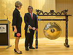 21 March 2016, Jakarta, Indonesia:  Australia's Foreign Minister Julie Bishop sounds the gong for the official opening of the new Australian Embassy in Jakarta with Prof. Dr. Pratikno the Indonesian Secretary of State. The function included traditional welcomes, dancing and speeches from Australian and Indonesian guests. Picture by  Graham Crouch/DFAT