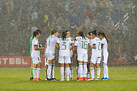 EAST HARTFORD, CT - JULY 1: The Mexico National Team huddles during a game between Mexico and USWNT at Rentschler Field on July 1, 2021 in East Hartford, Connecticut.
