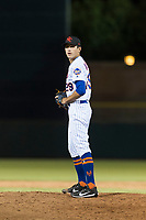 Scottsdale Scorpions relief pitcher Stephen Nogosek (29), of the New York Mets organization, gets ready to deliver a pitch during an Arizona Fall League game against the Surprise Saguaros at Scottsdale Stadium on October 15, 2018 in Scottsdale, Arizona. Surprise defeated Scottsdale 2-0. (Zachary Lucy/Four Seam Images)