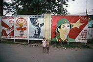 In Ho Chi Minh City, Saigon, February 1988. Political poster.