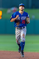 Kevin Kaczmarski (20) of the Las Vegas 51s heads back to the dugout at the end of an inning during a game against the Oklahoma City Dodgers at Chickasaw Bricktown Ballpark on June 17, 2018 in Oklahoma City, Oklahoma. Oklahoma City defeated Las Vegas 5-3  (William Purnell/Four Seam Images)