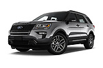 Stock pictures of low aggressive front three quarter view of a 2019 Ford Explorer Sport 5 Door SUV