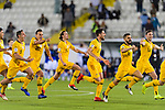 Players of Australia celebrates as Mathew Leckie of Australia (not pictured) scores their sides winning penalty in the penalty shoot out during the AFC Asian Cup UAE 2019 Round of 16 match between Australia (AUS) and Uzbekistan (UZB) at Khalifa Bin Zayed Stadium on 21 January 2019 in Al Ain, United Arab Emirates. Photo by Marcio Rodrigo Machado / Power Sport Images