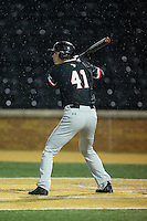 Will Robertson (41) of the Davidson Wildcats at bat against the Wake Forest Demon Deacons at David F. Couch Ballpark on February 28, 2017 in Winston-Salem, North Carolina.  The Demon Deacons defeated the Wildcats 13-5.  (Brian Westerholt/Four Seam Images)