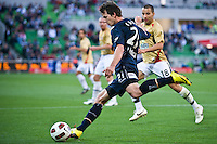 MELBOURNE, AUSTRALIA - DECEMBER 27: Robbie Kruse of the Victory kicks the ball during the round 20 A-League match between the Melbourne Victory and the Newcastle Jets at AAMI Park on December 27, 2010 in Melbourne, Australia. (Photo by Sydney Low / Asterisk Images)