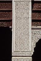 Carved Decorative Stucco, Bou Inania Medersa, Meknes, Morocco.  14th. century.