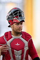 Palm Beach Cardinals catcher Carlos Soto (35) during a game against the Bradenton Marauders on May 29, 2021 at LECOM Park in Bradenton, Florida.  (Mike Janes/Four Seam Images)