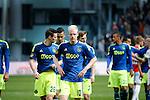 Nederland, Utrecht, 5 april 2015<br /> Eredivisie<br /> Seizoen 2014-2015<br /> FC Utrecht-Ajax (1-1)<br /> Teleurstelling bij spelers van Ajax. Met o.a. Nick Viergever, Anwar El Ghazi, Davy Klaassen, Joel Veltman en Richairo Zivkovic