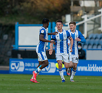 13th April 2021; The John Smiths Stadium, Huddersfield, Yorkshire, England; English Football League Championship Football, Huddersfield Town versus Bournemouth; Jonathan Hogg of Huddersfield Town celebrates pulling a goal back for huddersfield in the 76th minute making it 2-1