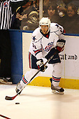 December 30th, 2007:  Rob Globke (18) of the Rochester Amerks controls the puck during the second period of play.  The Syracuse Crunch shutout the Rochester Amerks 4-0 to earn the win at Blue Cross Arena at the War Memorial in Rochester, NY.  Photo Copyright Mike Janes Photography 2007.