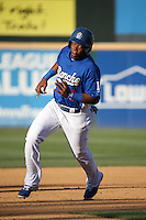 Johan Mieses (40) of the Rancho Cucamonga Quakes runs the bases during a game against the Inland Empire 66ers at LoanMart Field on September 6, 2015 in Rancho Cucamonga, California. Rancho Cucamonga defeated Inland Empire, 10-6. (Larry Goren/Four Seam Images)