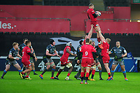 Nick Isiekwe of Saracens claims the lineout during the Heineken Champions Cup Round 5 match between the Ospreys and Saracens at the Liberty Stadium in Swansea, Wales, UK. Saturday January 11 2020.