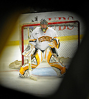 19 January 2008: University of Vermont Catamounts' goaltender Joe Fallon, a Senior from Bemidji, MN, in action against the Northeastern University Huskies at Gutterson Fieldhouse in Burlington, Vermont. The Catamounts defeated the Huskies 5-2 to close out their 2-game weekend series...Mandatory Photo Credit: Ed Wolfstein Photo